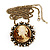 Victorian Diamante Round 'Cameo' Pendant Necklace In Antique Gold Metal Finish - 66cm Length with 6cm extension - view 4
