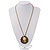 Victorian Diamante Round 'Cameo' Pendant Necklace In Antique Gold Metal Finish - 66cm Length with 6cm extension - view 5