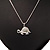 Cute Crystal Turtle Pendant Necklace In Rhodium Plated Metal - 44cm Length - view 1