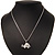 Cute Crystal Turtle Pendant Necklace In Rhodium Plated Metal - 44cm Length - view 4