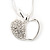 Silver Plated Diamante Open Apple Pendant Necklace - 42cm Length - view 3