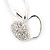 Silver Plated Diamante Open Apple Pendant Necklace - 42cm Length - view 5