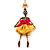 Funky Swarovski Crystal 'Skeleton Ballerina' Pendant Necklace In Antique Gold Metal - 74cm Length (8cm extension)