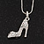 Stylish Diamante 'Shoe' Pendant Necklace In Rhodium Plated Metal - 40cm Length & 4cm Extension