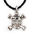 Silver Tone 'Skull & Crossbones' Pendant On Black Leather Style Cord Necklace - 40cm Length & 4cm Extension - view 1