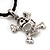 Silver Tone 'Skull & Crossbones' Pendant On Black Leather Style Cord Necklace - 40cm Length & 4cm Extension - view 2