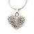 Small Clear Crystal Puffed 'Heart' Pendant Necklace In Rhodium Plated Metal - 40cm Length & 4cm Extension - view 4