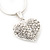 Small Clear Crystal Puffed 'Heart' Pendant Necklace In Rhodium Plated Metal - 40cm Length & 4cm Extension - view 5