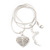Small Clear Crystal Puffed 'Heart' Pendant Necklace In Rhodium Plated Metal - 40cm Length & 4cm Extension - view 6