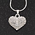 Small Clear Crystal Puffed 'Heart' Pendant Necklace In Rhodium Plated Metal - 40cm Length & 4cm Extension - view 1