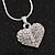 Small Clear Crystal Puffed 'Heart' Pendant Necklace In Rhodium Plated Metal - 40cm Length & 4cm Extension - view 2