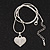 Small Clear Crystal Puffed 'Heart' Pendant Necklace In Rhodium Plated Metal - 40cm Length & 4cm Extension - view 3