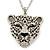 Exotic Swarovski Crystal 'Tiger' Pendant In Rhodium Plating - 74cm Length/ 9cm Extension