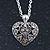 Small Burn Silver Marcasite Crystal 'Heart' Pendant With Silver Tone Chain - 40cm Length/ 5cm Extension - view 3