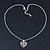Small Burn Silver Marcasite Crystal 'Heart' Pendant With Silver Tone Chain - 40cm Length/ 5cm Extension - view 5