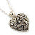 Small Burn Silver Marcasite Crystal 'Heart' Pendant With Silver Tone Chain - 40cm Length/ 5cm Extension - view 2
