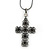Victorian Style Filigree, Diamante Statement Cross Pendant With Black Tone Snake Chain - 38cm Length/ 7cm Extension