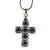Victorian Style Filigree, Diamante Statement Cross Pendant With Black Tone Snake Chain - 38cm Length/ 7cm Extension