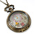 Antique Bronze Tone Eiffel Tower & Flower Motif Quartz Pocket Watch Pendant Necklace - 45mm D/ 80cm L - view 7
