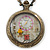Antique Bronze Tone Eiffel Tower & Flower Motif Quartz Pocket Watch Pendant Necklace - 45mm D/ 80cm L