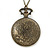 Antique Bronze Tone Eiffel Tower & Flower Motif Quartz Pocket Watch Pendant Necklace - 45mm D/ 80cm L - view 4