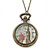Antique Bronze Tone Big Ben & Roses Motif Quartz Pocket Watch Pendant Necklace - 45mm D/ 80cm L - view 7