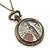 Antique Bronze Tone Big Ben & Roses Motif Quartz Pocket Watch Pendant Necklace - 45mm D/ 80cm L - view 6