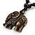 Unisex Acrylic Elephant Pendant With Black Waxed Cotton Cord - Adjustable - view 2