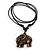 Unisex Acrylic Elephant Pendant With Black Waxed Cotton Cord - Adjustable - view 3