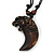 Unisex Acrylic Dark Brown Roaring Tiger Claw Pendant With Black Waxed Cotton Cord - Adjustable - 40cm Min