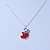 Tiny Red/ Green Apple Pendant with Silver Tone Chain - 40cm L - view 5