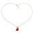 Tiny Red/ Green Apple Pendant with Silver Tone Chain - 40cm L - view 4