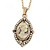 Vintage Inspired Simulated Pearl Cameo Pendant with Gold Tone Chain - 40cm L/ 7cm Ext
