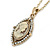 Vintage Inspired Simulated Pearl Cameo Pendant with Gold Tone Chain - 40cm L/ 7cm Ext - view 2