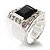 Emerald-Cut Black CZ Wide Band Fashion Ring