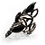Black Elongate Crystal Vintage Cocktail Ring - view 11