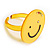 Yellow Plastic Smiling Face Ring - view 6