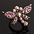 Rhodium Plated Diamante Dragonfly Fashion Ring (Pink)