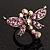 Rhodium Plated Diamante Dragonfly Fashion Ring (Pink)