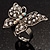 Silver Tone Clear Crystal Butterfly Ring - view 5