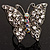 Silver Tone Clear Crystal Butterfly Ring - view 3