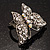 Silver Tone Clear Crystal Butterfly Ring - view 7