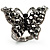 Black Tone Jet-Black Crystal Butterfly Ring