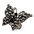 Black Tone Jet-Black Crystal Butterfly Ring - view 2
