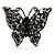 Black Tone Jet-Black Crystal Butterfly Ring - view 3