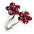 Magenta Crystal Flower Ring