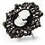 Large Filigree Crystal Cameo Cocktail Ring (Black Tone) - view 4