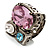 Bold Multicoloured Crystal Cluster Cocktail Ring - view 5