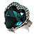 Teal Crystal Contemporary Heart Ring - view 3