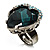 Teal Crystal Contemporary Heart Ring - view 5